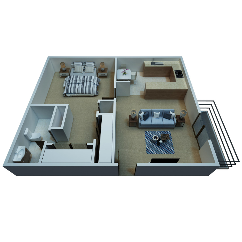1 BEDROOM, 1 BATHROOM Floor Plan
