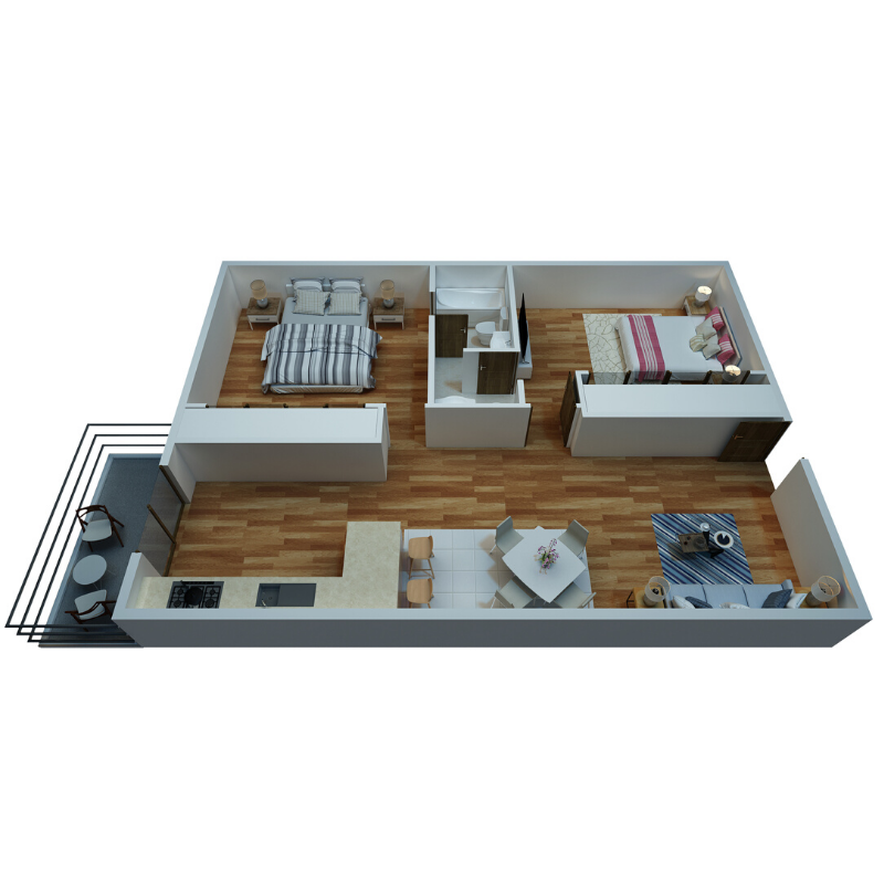 2 BEDROOM, 1.5 BATHROOM Floor Plan
