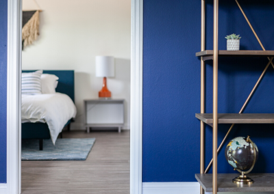 Entrance to bedroom with blue wall and bookshelf